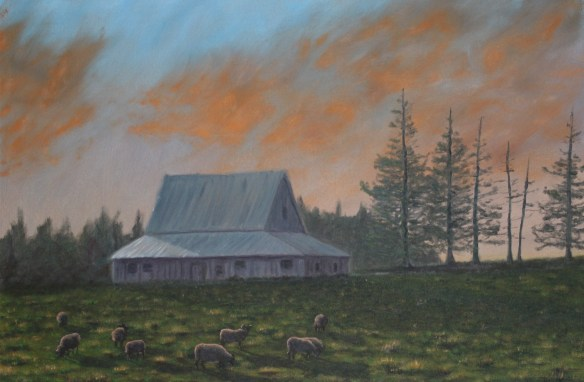 Evening Graze on Colville Road, Oil on Canvas, 24 x 36 in.