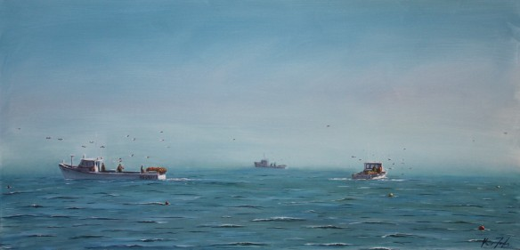 Lobster fishing off Rustico Beach 24 x48 in Oil on Canvas