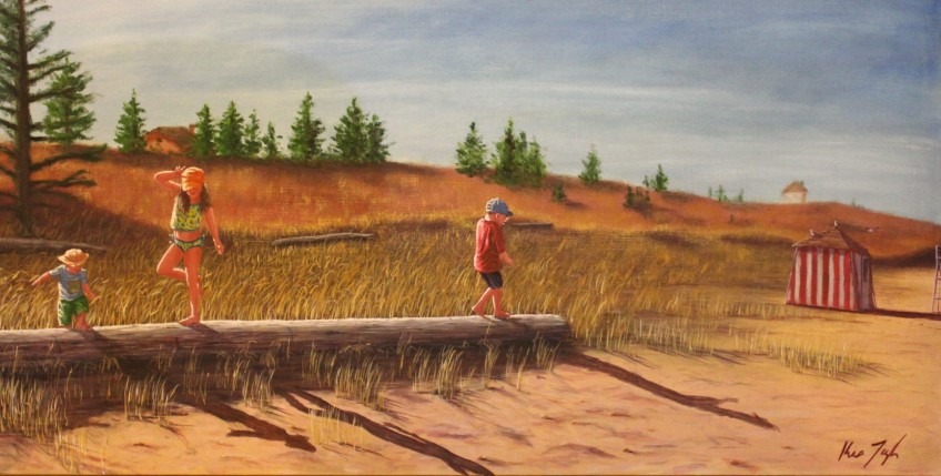 Tight Rope Logging 24 x 48 in. Oil on Canvas