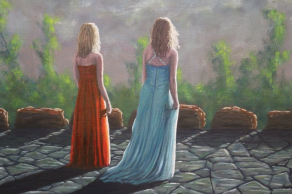 Girls in Prom Dresses 22x 28 in. Oil on Canvas